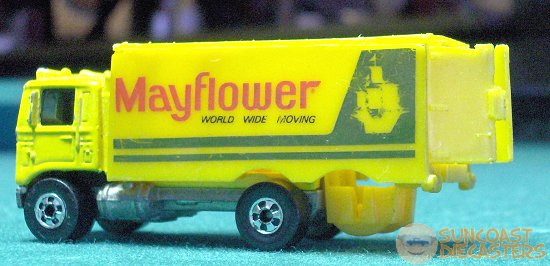 Matchbox Mayflower moving truck with opening rear doors (and without rear axle).