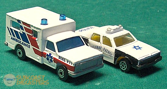 Matchbox ambulance, and High Speed police car.